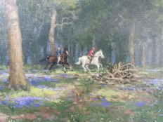 H.G. de Korte (1941-)-riders in the forest.