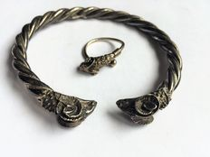 Solid 925‰ silver bracelet and ring