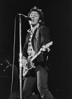 Bruce Springsteen, two unseen black and white photographs, live 1978, L.A. Forum, Los Angeles