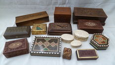 15 wooden boxes, carved and with bone inlay and brass