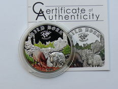 Cook Islands 2 dollars 2014 'World of Hunting – Wild Boar' 1/2 oz silver