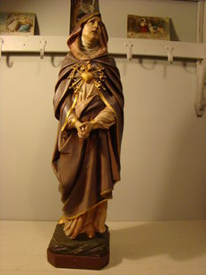 Polychrome plaster statue of Mary - France ca 1930
