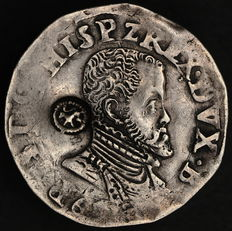 Brabant – 1/5 Philipsdaalder 1563-67, minted in Antwerp with a countermark of the Dutch lion.