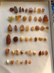 Half-worked Butterscotch Baltic Amber cabochons, hearts and similar - 8  to 40mm - 52,5gm  (50)