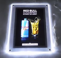 "Beautiful plastic ""Red Bull"" illuminated sign with LED lighting / 2nd half of the 20th century"