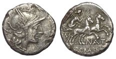 Roman Republic - Pinarius Natta - Denarius (18 mm; 3,36 g.), c. 155 BC - Rome mint - Head Roma / Victory in biga - Cr. 200/1