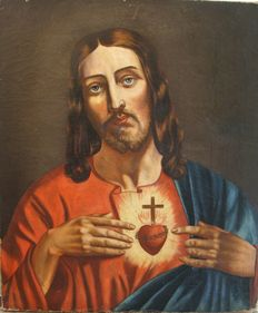"Oil painting on canvas depicting the ""Sacred Heart of Jesus"" -  Italy, 18th century"