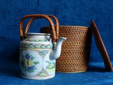 Cantonese teapot in basket – China – around 1920