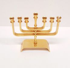 24 k gold-plated hand-made Menorah of Karshi - Jerusalem - 20th century