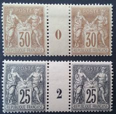France 1881 to 1886 - Sage Type II, 30c brown and 25c black-pink, vintage pair 0 and 2, signed Roumet - Yvert no. 80 and 37.