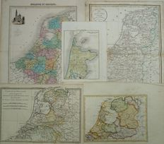 The Netherlands; 5 maps - 18th / 19th century