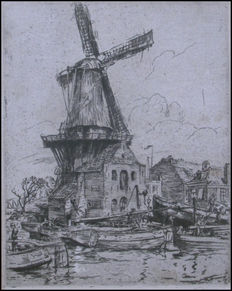 Walter Zeising - Framed etching of mill in Utrecht - 1920