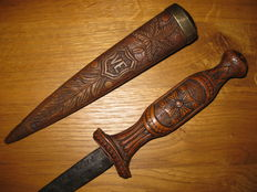 antique 18th century German dagger with wooden hand-carved handle and sheath