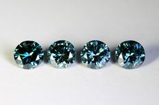 4 green-blue diamonds of 0.75 ct in total