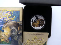 Tuvalu – 50 Cents 2014 'Mothers Love – Asian Elephant' 1/2 oz silver