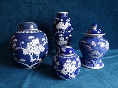4 pieces Chinese blue / white porcelain - China - first half 20th century