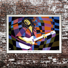 2 Posters Lithography Bob Marley By Simeoni - Size 60X80 CM + Jimmy Handrix Live At Woodstock Size 33X70 CM