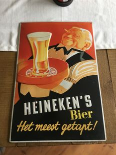 Heineken advertising sign with text & tray with embossed glass