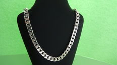 Solid silver necklace with flat curb links