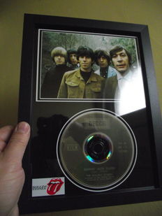 Rolling Stones, framed photo and  CD disc. 'Jumpin' Jack Flash', Decca Record label.