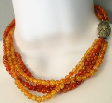 Carnelian necklace with large silver decorative clasp - 65.5 g