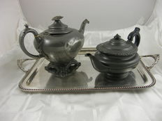 Two antique tea pots on square silver plated tray with pearl rim, late 19th century / early 20th century, England