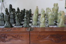 Chinese chess set with jade chess pieces