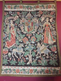 embroided printed fabric tapestry after a late medieval example. French, mid 20th century