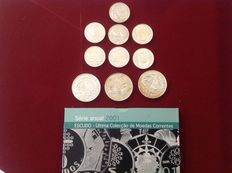 Portugal – 500$ (7 coins), 1000$ (3 coins) and annual Escudo set of 2001 – 1995 to 2001 – Lisbon