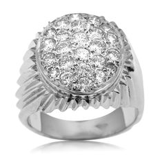 18kt White Gold Diamond Pavé-set Ring for Small Finger Size, As New! (9.5 gram) Ring size: 47 (15)