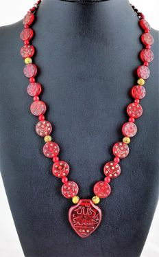Afghan necklace made from Haji beads and 22 kt gold