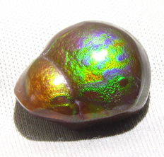 Multi-coloured, part-polished Mexican Fire Agate - 20.5 x 15.1 x 5.80mm  - 1.77gm