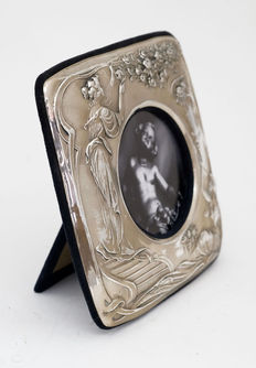 Silver plated Art Nouveau style photo frame with decoration depicting young ladies and flora - marked.