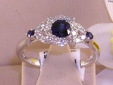18k Goud Diamond (0,60ct) and Sapphire (1,00ct) Ring - size 53