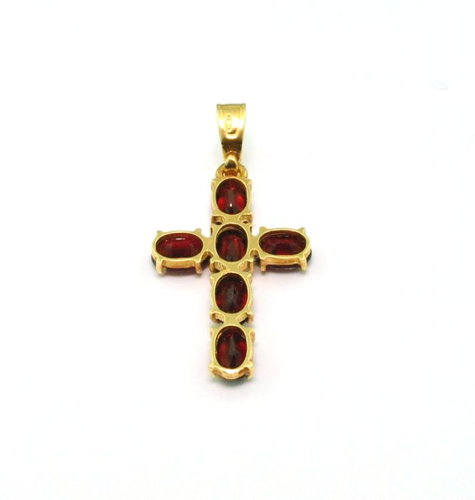 Garnet stone cross pendant 18k yellow gold catawiki garnet stone cross pendant 18k yellow gold aloadofball Image collections