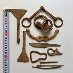A small selection of Ancient Roman and Celtic iron tools.