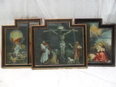Triptych with several scenes - monastery item - Early 20th century - SUPERB