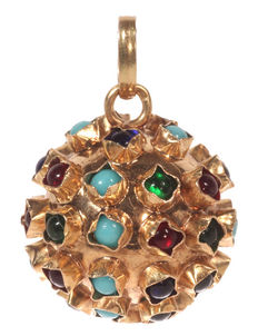Gold pendant, sphere with coloured stones