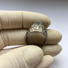 Medieval Silver Archer's Thumb Ring  -  20 / 28 mm