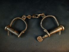 Ancient handcuffs of convicts - France - mid-19th century