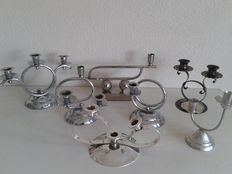 Seven Art Deco candle holders