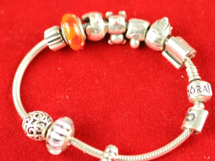 Pandora – 925 silver bracelet with 10 different charms –  bracelet length: 195 mm