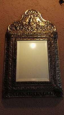 Antique mirror brush cabinet, hand-made of Latoen copper-  late 1900