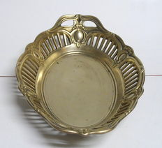 Rare patterned brass dish in oval shape, old version - approx. 1960