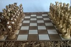 Chess set:  Deluxe C. Manopoulos chess set inspired by the Greek - Roman period.