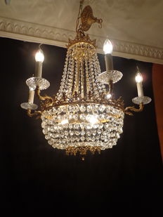 Crystal chandelier - (bronze-copper), France, circa 1920