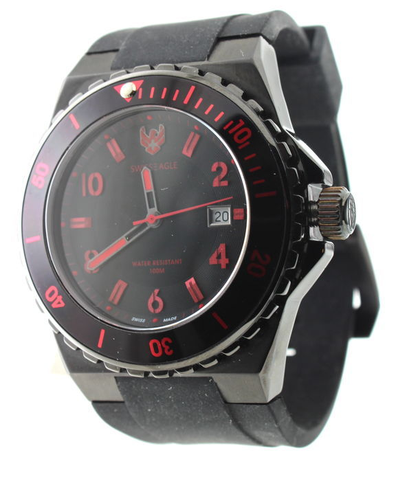 Swiss eagle wristwatch red/black
