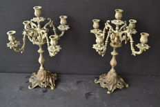 Pair of French candelabra - brass - ca.1940