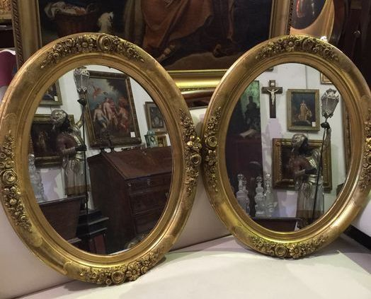 A pair of gilt wood and gesso mirrors - France - late 19th C