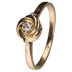 Yellow gold love-knot ring set with a 0.05 ct brilliant cut diamond